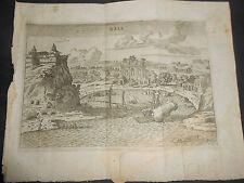1761 F.SCOTO INCISIONE IN RAME VEDUTA DI BAIA GOLFO POZZUOLI ROMA FAUSTO AMIDEI