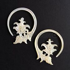 10G Pair Mother of Pearl Baroque Flower Spiral Gauged Earring Plugs 10 gauge