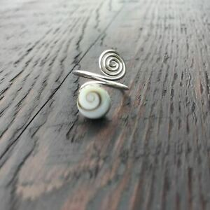 Shiva Shell Spiral Design Sterling Silver Ring