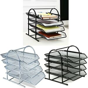 OFFICE FILING TRAYS HOLDER A4 DOCUMENT LETTER PAPER WIRE MESH STORAGE 4 TIERS