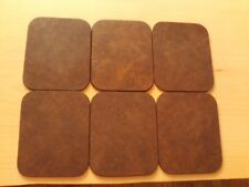 Vintage X6 Coasters Brown Leather Look Style.