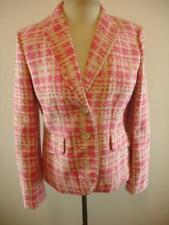 Womens 6 Ann Taylor Mauve Pink Ivory Plaid Cotton Jacket Blazer Sport Suit Coat