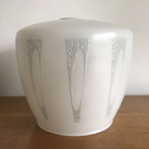 Vintage Small Glass Side Light Lamp Shade White Mid Century