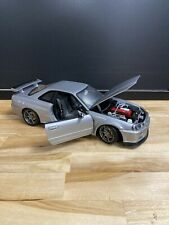 1/18 AUTOART NISSAN SKYLINE R34 SILVER  , Used WITH NO BOX N BBR MINICHAMPS