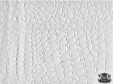 SHINY CROCODILE EMBOSSED VINYL WHITE FABRIC FAUX LEATHER UPHOLSTERY BTY