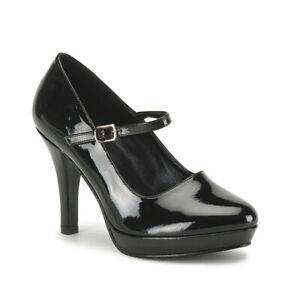 "*4"" Heel Shiny Black Mini Platform Maryjane Buckle Pinup Pumps Wide Width Plus 8"