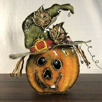 Metal Pumpkin Witch Tealight Candle Holder Lantern Hanging Or Table - Halloween