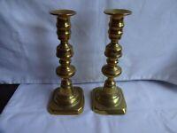 Antique Pair Victorian Brass Candlesticks Height 21 cm Base 8 x 8 cm