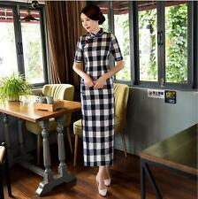black/white chinese style women's cotton Evening long Dress Ball Cheongsam S-XXL