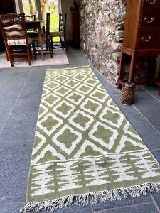 SALE Jalandar Green White Geometric Wool Cotton Runner Rug Long Kilim