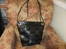 "SHARIF Black Leather Faux Croc & Snake Print Satchel Handbag - 12"" x 13"""
