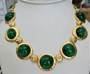 KJL KENNETH JAY LANE COUTURE FLAWED EMERALD LARGE GLASS CABOCHON NECKLACE NEW