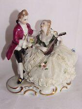 02D20 ANCIENNE FIGURINE PORCELAINE ALLEMANDE MARQUIS MARQUISE MUSICIENS ROMANCE