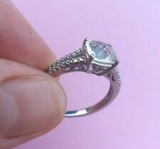 Beautiful Engagement Cushion Cut CZ Ring in Sterling Silver  Size 7
