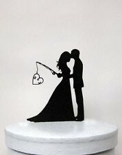 Custom Wedding Cake Topper - Hooked on Love 2 with personalized Initials