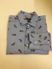 ZARA MAN Slim Fit Novelty Print Scooter Blue Long Sleeved Size M Smart Casual