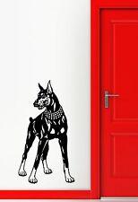 Wall Decal Doberman Feet Tail Dog Animal Pet Collar Grin Vinyl Stickers (ed102)