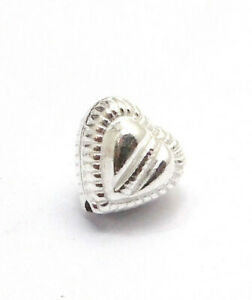 26 PCS 10MM HEART SPACER BEAD STERLING SILVER PLATED 645 HRK-365