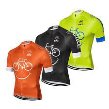 Coolmax Cycling Jersey Shirt Men's Bike Cycle Jersey Top Orange Green Black