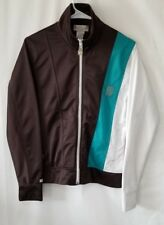 BABY PHAT Polyester Jacket Womens LARGE Brown White Green Windbreaker Coat