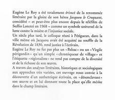 EUGÈNE LE ROY fils de la Révolution et narrateur + PERIGORD / Colloque janv 2000