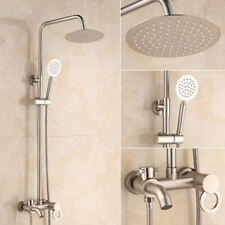 Bathroom Brushed Nickel Wall Mounted Rain Shower Faucet Set Mixer Tap