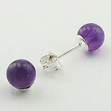 Stud Earrings 6mm Diameter Sterling Silver Teensy Amethyst Spheres Ear Stud