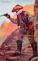 THE OUTLAW WITH PISTOLS~W SCHULTZ ARTIST DRAWN 1907 COWBOY POSTCARD