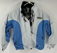 Spyder Womens XT 5000 Jacket Blue White Athletic Color Block ZipUp Logo Lined  M