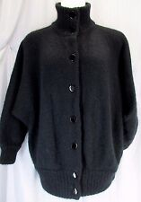 M/L Vtg Ib Diffusion Mohair Batwing Black Cardigan Sweater Coat Fluffy Unlined