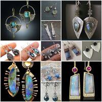 Women 925 Silver Opal Moonstone Gems Earrings Fashion Ear Hook Stud Dangle Drop