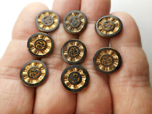"""8 Matching Black Glass Gold Luster Vintage/Antique Buttons 1/2"""""""