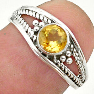925 Sterling Silver 0.74cts Solitaire Natural Yellow Citrine Ring Size 7 T40177