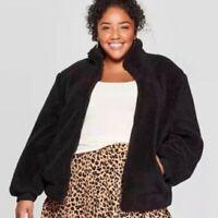 Women's Ava & Viv Plus Size Long Sleeve Sherpa Bomber Jacket Black Size 3X $49