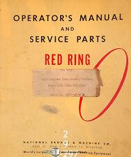 National Broach Gcu 2143 Red Ring Shaving Machine Operation Service Manual 1958