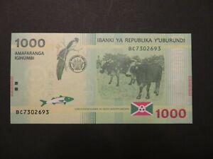 Burundi: 1.000 Francs-Banknote, fast kassenfrisch (AU), 2015