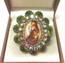 Vintage Jewellery Stunning Murano Glass With Rhinestones Brooch Pin /Pendant