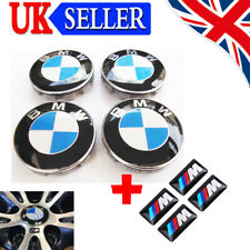 4X BMW Wheel Centre Caps + 4X M StickersEmblem Fits Most 1 3 5 7 Series 68mm UK