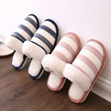 Men Women Winter Slippers Stylish Strip Soft Plush Lining Warm Indoor Flat Shoes