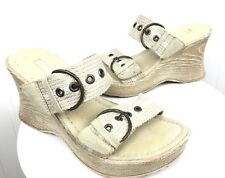 REPORT Neo Tan Buckle WEDGE SANDALS SHOES SZ 6 Slip On