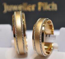 Ein Paar Gold 585 Trauringe Eheringe Partnerringe Gelbgold mit Weißgold Zöpfen