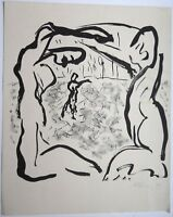 """Helge LEIBERG Dresden 1954 Lithographie o.T. wohl """"How"""" 1981 handsigniert"""