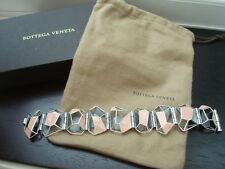 Splendido * BOTTEGA VENETA * Geometrico Sterling Argento & Rosa braccialetto dello smalto