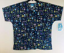 5be3e212867 NWT HQ Women's Blue/Multicolored Floral Scrubs Uniform Top Front Pockets  Sz-L