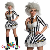 Womens Ladies Sexy Miss Beetlejuice Halloween Fancy Dress Party Costume & Wig