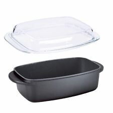 Roasting Pan with Glass Lid Oval 32cm Non Stick Roaster Oven Baking Dish 5.7L
