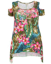 New Ladies Emily Pink Green Floral Print Cold Shoulder Plus Size Tunic Top