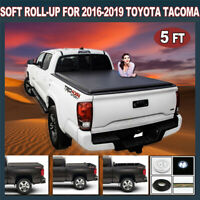For 2016-2019 Toyota Tacoma 5FT Short Bed Soft Roll Up Black Tonneau Cover
