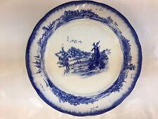 "ROYAL DOULTON BURSLEM NORFOLK PATTERN FLOW BLUE 8 7/8"" PLATE WINDMILL"