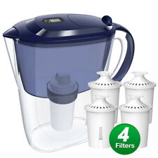 10-Cup Water Filter Pitcher w/4 Filters=1Year Use Filter Jug,Zero 0 Tds Bpa Free